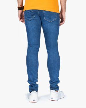 شلوار جین جذب زاپ دار مردانه - آبی تیره - پشت