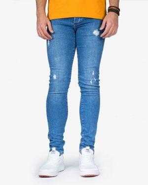 شلوار جین جذب زاپ دار مردانه - آبی - رو به رو
