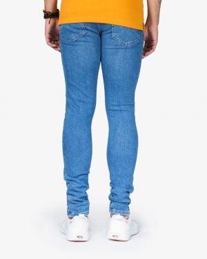 شلوار جین جذب زاپ دار مردانه - آبی - پشت