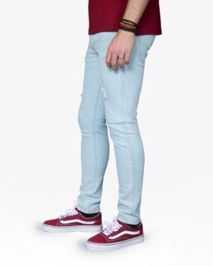 شلوار جین زاپ دار مردانه - آبی روشن - بغل