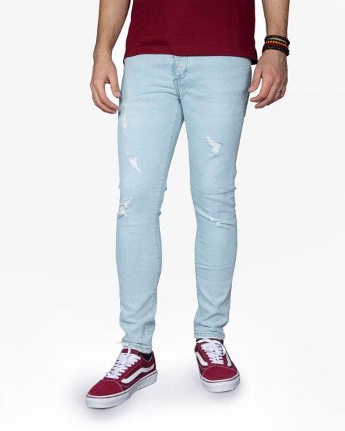 شلوار جین زاپ دار مردانه - آبی روشن - رو به رو