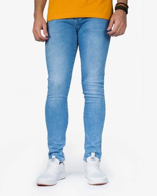 شلوار جین کشی ساده مردانه - آبی روشن - رو به رو