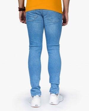 شلوار جین کشی ساده مردانه - آبی روشن - پشت