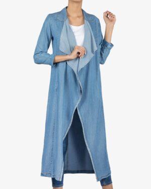 مانتو جین بلند دخترانه - آبی - رو به رو