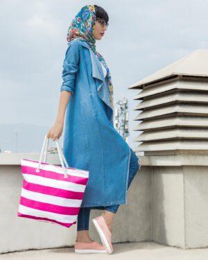 مانتو جین بلند دخترانه - آبی - محیطی