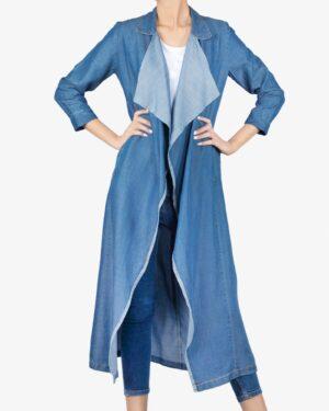 مانتو جین بلند دخترانه - آبی نفتی - رو به رو