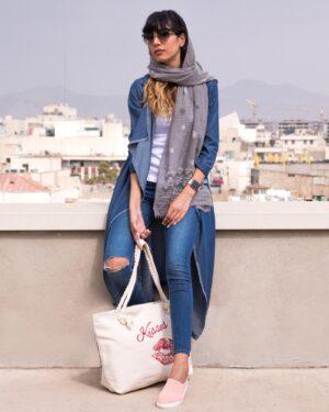 مانتو جین بلند دخترانه - آبی نفتی - محیطی