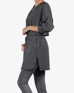 مانتو کرپ کوتاه طرح دار زنانه جلو باز - مشکی - بغل