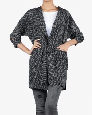 مانتو کرپ کوتاه طرح دار زنانه جلو باز - مشکی - رو به رو