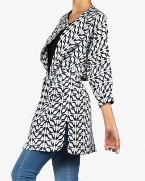 مانتو کوتاه دخترانه کرپ طرح دار جلو باز - سفید - بغل