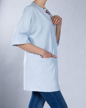 مانتو کوتاه ساده زنانه لنین (لینن) جلو باز - آبی یخی - بغل