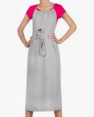 پیراهن بلند پشت باز زنانه - طوسی کمرنگ - رو به رو