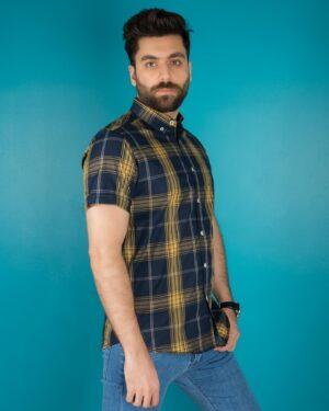 پیراهن سرمه ای آستین کوتاه چهارخانه مردانه - زرد - محیطی - ۳۵۶۵