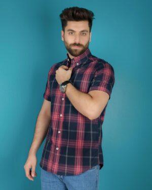 پیراهن سرمه ای آستین کوتاه چهارخانه مردانه - صورتی روشن - محیطی - ۳۵۶۴