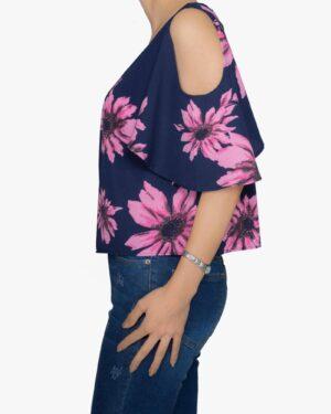 بلوز گلدار زنانه سرمه ای صورتی - سرمه ای - بغل