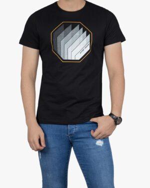 تی شرت آستین کوتاه مردانه کانی راش - مشکی - رو به رو