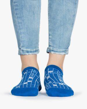 جوراب ساق کوتاه زنانه طرح شطرنجی - آبی - طرح شطرنجی - رو به رو