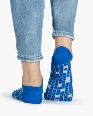 جوراب ساق کوتاه زنانه طرح شطرنجی - آبی - طرح شطرنجی - پشت