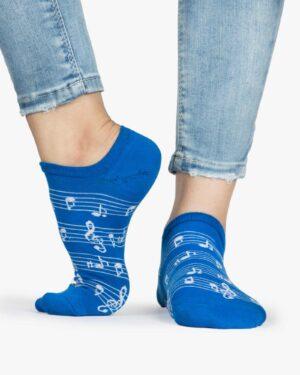 جوراب ساق کوتاه زنانه طرح نت - آبی - ساق کوتاه - بغل پا