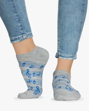 جوراب ساق کوتاه زنانه طرح نت - طوسی کم رنگ - ساق کوتاه - بغل
