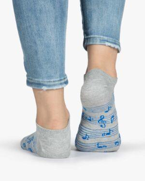 جوراب ساق کوتاه زنانه طرح نت - طوسی کم رنگ - نت موسیقی - پشت