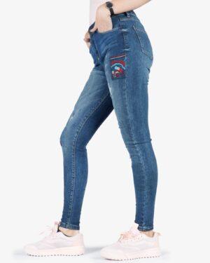 شلوار جین سرمه ای گلدوزی زنانه - سرمه ای - بغل