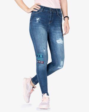 شلوار جین سرمه ای گلدوزی زنانه - سرمه ای - رو به رو