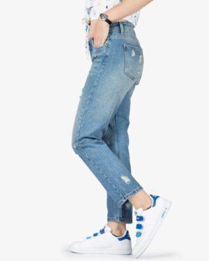 شلوار جین مام استایل زاپ دار زنانه - آبی - بغل