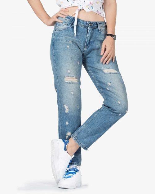 شلوار جین مام استایل زاپ دار زنانه - آبی - رو به رو