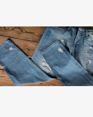 شلوار جین مام استایل زاپ دار زنانه - آبی - زاپ ساق پا