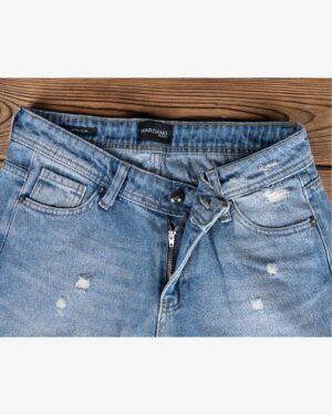 شلوار جین مام استایل زاپ دار زنانه - آبی - زیپ دکمه رو به رو