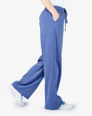 شلوار مدل جین نخی گشاد زنانه - آبی تیره - بغل
