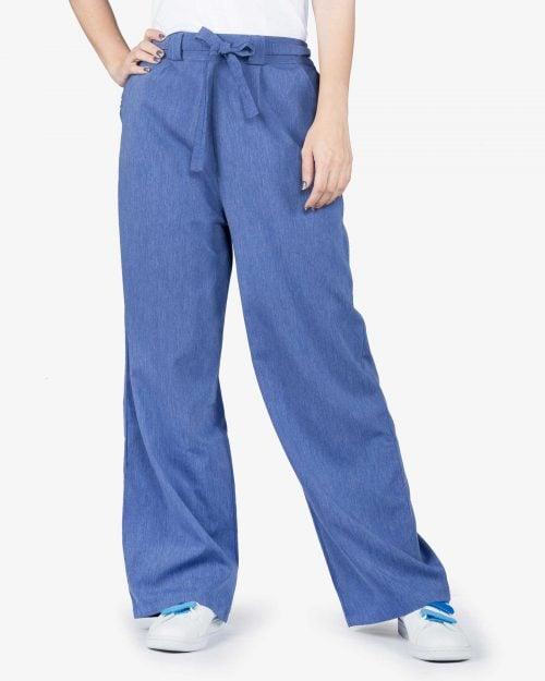 شلوار مدل جین نخی گشاد زنانه - آبی تیره - رو به رو