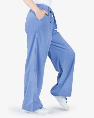 شلوار مدل جین نخی گشاد زنانه - نیلی - بغل