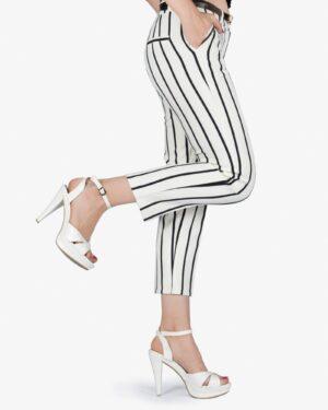شلوار راه راه زنانه سفید مشکی - سفید - بغل