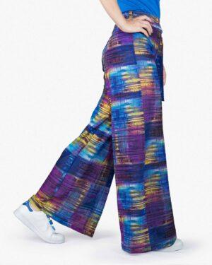 شلوار گشاد رنگی زنانه - آبی - بغل