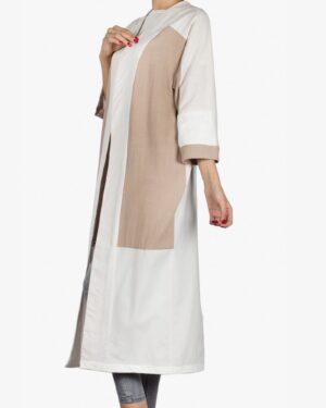 مانتو بلند دو رنگ زنانه جلو باز - استخوانی - بغل