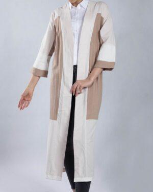 مانتو بلند دو رنگ زنانه جلو باز - استخوانی - جلو
