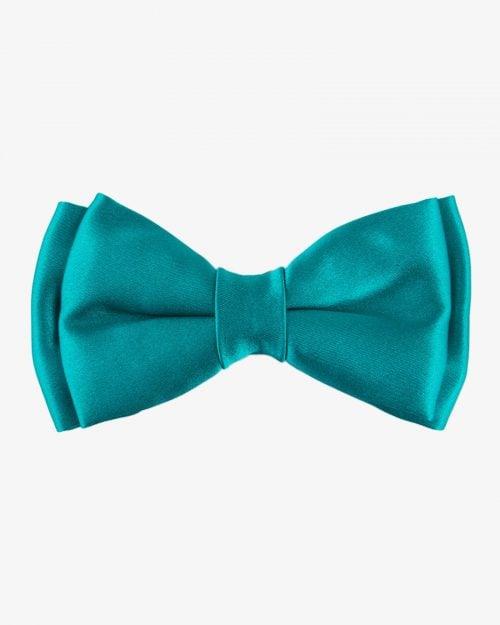 پاپیون ساده ساتن سبز آبی - سبز زمردی
