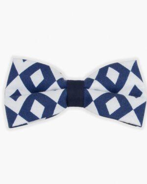 پاپیون طرح لوزی آبی سفید - سفید