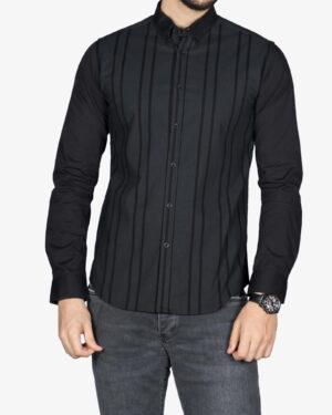پیراهن راه راه مشکی مردانه - مشکی - رو به رو