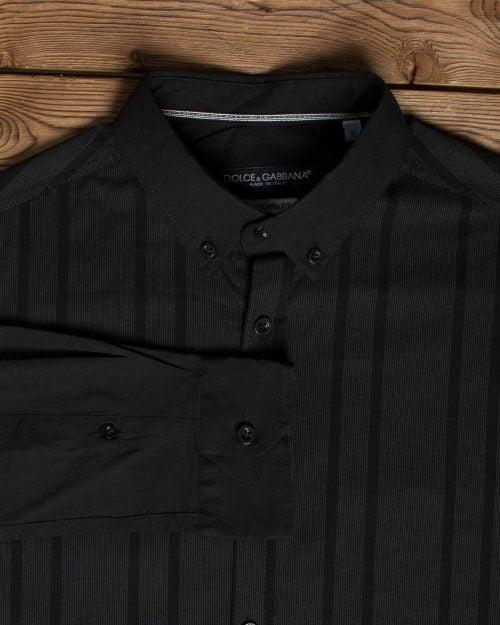 پیراهن راه راه مشکی مردانه - مشکی - یقه مردانه