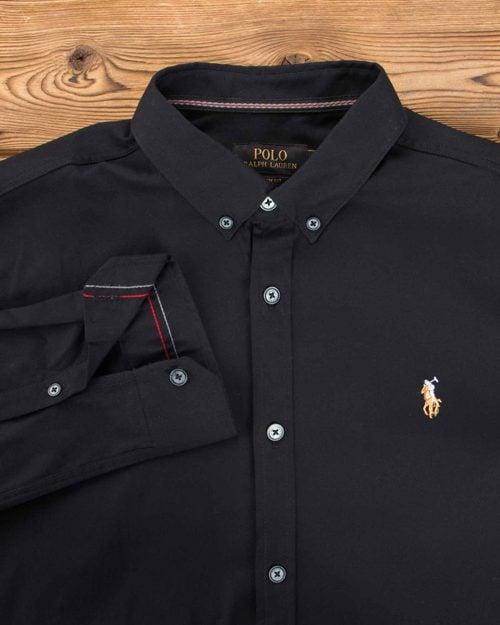 پیراهن ساده آستین بلند مردانه - مشکی - یقه