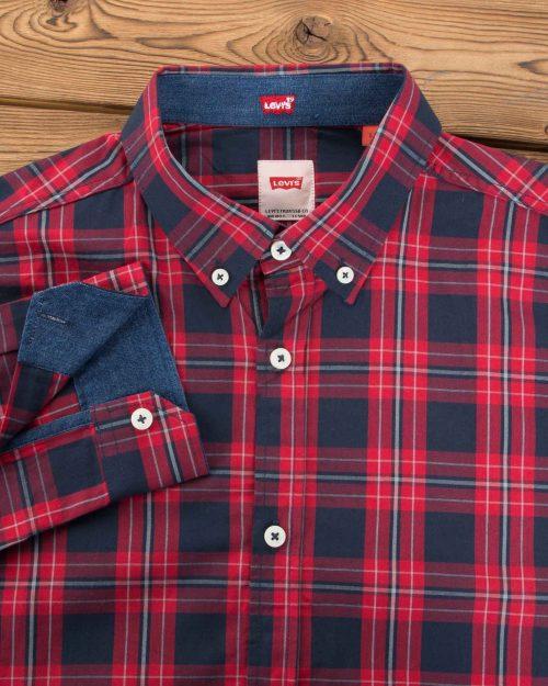 پیراهن مردانه آستین بلند چهارخانه - قرمز - یقه