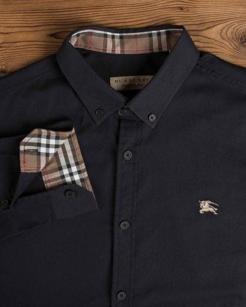 پیراهن مشکی اسپرت آستین بلند - مشکی - یقه مردانه