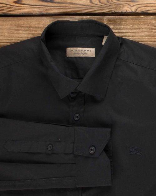 پیراهن مشکی ساده آستین بلند - مشکی - یقه مردانه