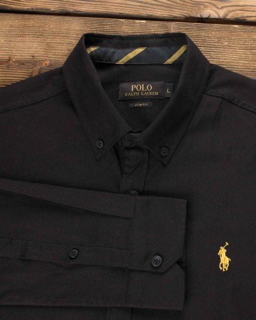 پیراهن مشکی ساده مردانه (پوپلین)