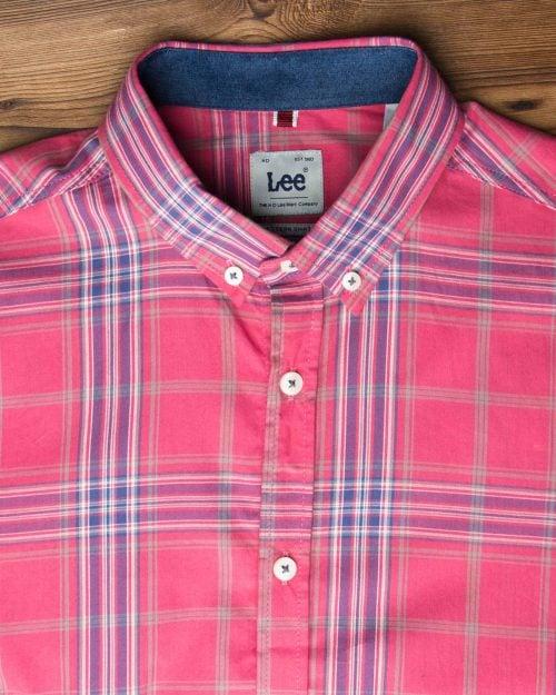 پیراهن چهارخانه صورتی آبی مردانه - ارغوانی روشن - یقه