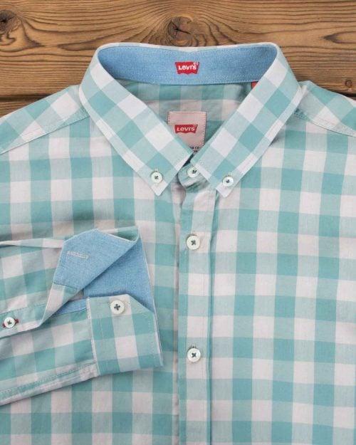 پیراهن چهارخانه مردانه سفید سبزآبی آستین بلند - سبز دریایی - یقه مردانه