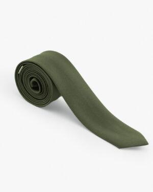 کراوات سبز ساتن مردانه - زیتونی سیر